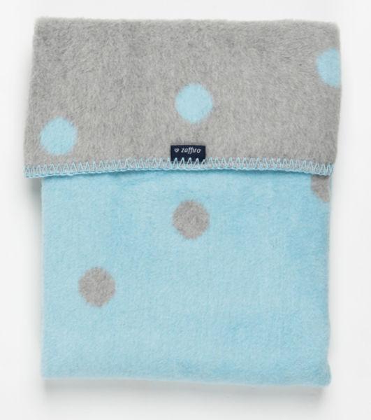 Памучно бебешко одеяло за момче 75х100см сиво/синьо точки